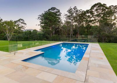 Luxurious swimming pool overlooking nature in the hinterland