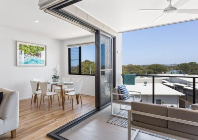 Large townhouse balcony with water view