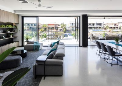 Living Room with Polished Concrete Floor